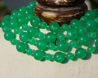 CHRISTMAS SALE LONG Green Necklace, very long necklace, green bead necklace, fixed green bead, necklace, layering necklace, long bead neckla