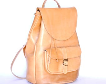 Large leather backpack / Women/Men natural tan backpack