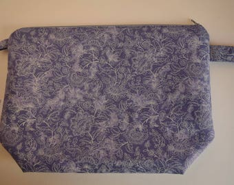 Large Denim Blue and White Floral Project bag knitting, crochet, spinning, sewing bag