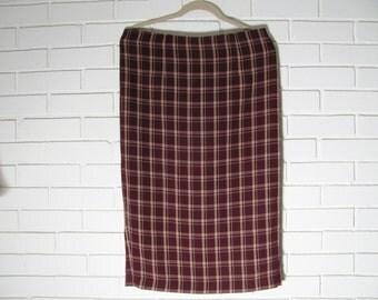 Vtg long plaid pencil skirt lined wool blend waist size 34''