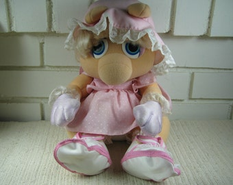 80's Miss Piggy stuffed doll with vinyl shoes