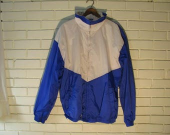 Vtg Arcadia blue and white nylon jacket size L