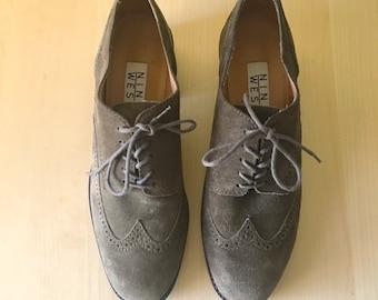 Vintage Olive Suede Oxford Nine West Low Heels Genuine Leather