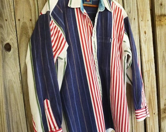 Mens Heavy Cotton Long Sleeved Shirt Chaps Striped Button up 80s Bold Striped Red White Blue