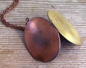 Two Tone Locket, Reversible Locket, Unisex Locket, Men's Locket, Large Vintage Mixed Metals Locket Brass Copper Locket Necklace, Oval Locket