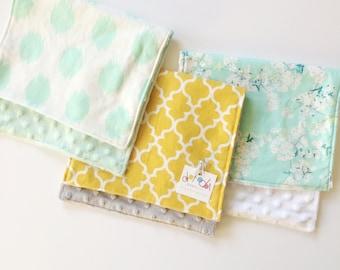 Cherry Mint Blossom / Mustard Quatrefoil / Mint Dots - Burp Cloth Set 3 Cotton + minky Baby Girl Shower Gift Set Ready to Ship
