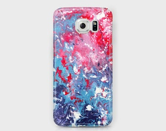 Red White and Blue Samsung Phone Case - Red White and Blue Marbled Abstract Samsung Phone Case - Galaxy S4/S5/S6/S7 Edge Ace