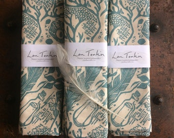 Tea Towel- unbleached cotton. Beachcomber design by Lou Tonkin
