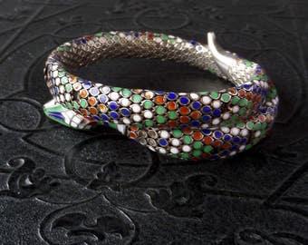 Art Deco Snake Bracelet. Well Worn Enameled Sterling.
