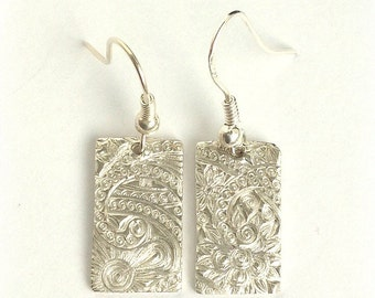 Silver Rectangle Earrings, Fine Silver Paisley Texturized Rectangle Drop Earrings, Fine Jewelry, Gift for Women, Gift Under 100, Gift Wrappe
