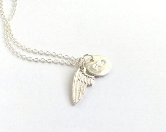 SALE Personalized Memorial Necklace, Angel Wing Necklace, Memorial Charm Necklace, Hand Stamped Initial Letter, Monogram Necklace, Remembran