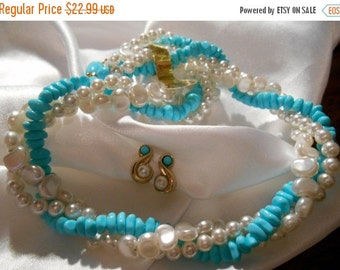 25% OFF SALE Avon Turquoise Impressions Torsade Choker Necklace and Swirl Earrings