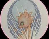 Original art Ice crystal dragon fantasy lowbrow
