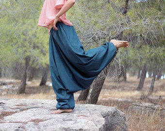 Women's Harem pants with pockets, Aquamarine Cotton wide-legged Trousers, Regular, Tall, Plus size, Custom Made