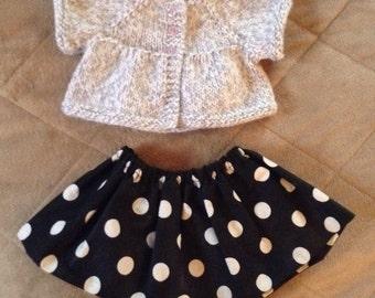 American Girl doll handmade sweater and skirt