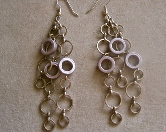 """Silver Long Dangles Lavender Abstract MODERNIST Circles 3 1/2"""" Long"""