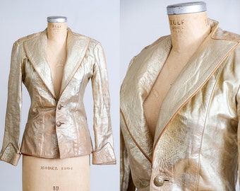 70s Gold Metallic Leather Disco Bombshell Bohemian Leather Jacket