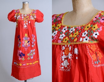 Vintage Mexican Embroidered Floral Red Cotton Oaxacan Babydoll Dolly Dress