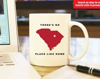 South Carolina SC Coffee Mug Cup, No Place Like Home, Gift Present, Wedding Anniversary, Personalized Color Custom Location Columbia Clemson