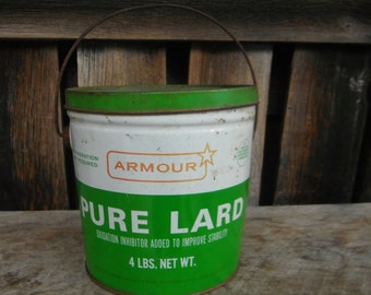 Vintage Green and White Armour Lard Bucket