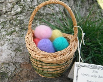 Small WV Hand Woven Basket - With Needle Felted Easter Eggs