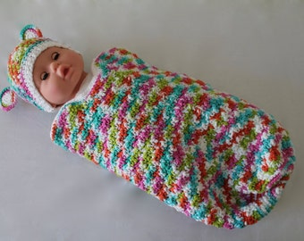 Baby Crochet Cocoon - Baby Swaddle Sack - 100% Eco-Friendly Cotton - Cocoon - Multi Teddy Bear
