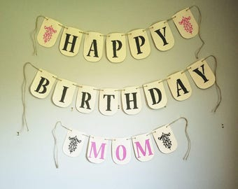 Birthday Banner, Happy Birthday Mom Banner, Jute, Natural cloth banner, Fleur de Lis, birthday decor, large