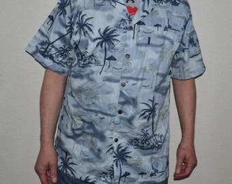 Retro 90s Palmwave Hawaii Mens Hawaiian style cotton shirt Size 2XL Palm, pineapple  Beach Surf Shirt vacation boat cruise