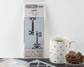 Keys Stencil - Stencil MiNiS from The Stencil Studio. Handy little reusable stencils for home decor, crafts and more!
