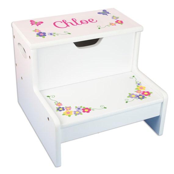 Girls Personalized Step Stool With Storage Stool By Mybambino