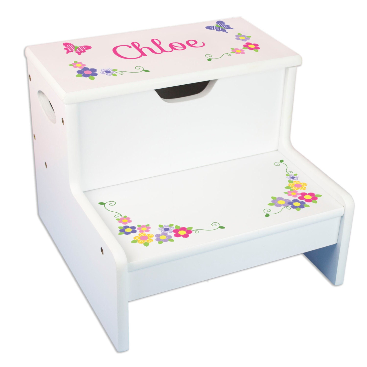 Girls Personalized Step Stool With Storage Stool By Mybambino