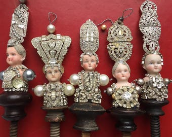 one mixed media assemblage, Grand Duchess, original art doll ornaments, by Elizabeth Rosen