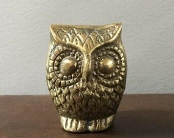Vintage 70's Brass Owl Miniature Statue / Marked Korea