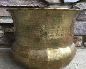 "Extra Large Tree Planter in Hammered Brass / Bohemian Home Decor/ Indoor Gardening / 12.25""H"