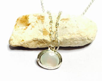Vintage Sterling silver & mother of pearl Pendant/Necklace, romantic, Delicate, Clearance SALE, Item No. S007b