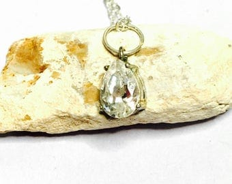 Vintage silver & clear CZ Pendant/Necklace, Tear Drop, Clearance SALE, Item No. S001
