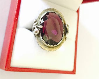 Antique Art Deco Amethyst Ring Size 6,  Stamped STERLING, large Oval Birthstone, Item No. S465