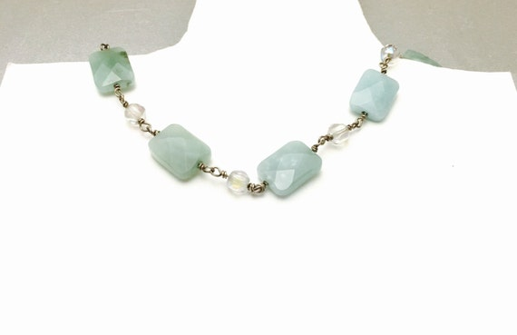 Aventurine Choker/Necklace, Green & Clear Crystals, Vintage Silver Wire Wrapped, Item No. S146