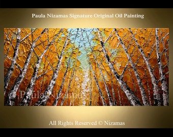 Acrylic and Oil Aspen Birch Trees Painting on canvas PALETTE KNIFE original extra heavy texture art ready to hang By Paula Nizamas