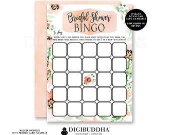 Floral Bridal Shower Bingo Game Card Bridal Shower Bingo Printed Bridal Bingo Game Cards Bridal Shower Game Bingo Printed or DIY - Kaylee