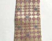 ON SALE Vintage 1940s 50s Plum Rose Grey Cream Silk Necktie Tie