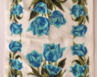 Vintage Blue Turquoise Tulips Terrycloth Kitchen Towel by Royal Terry of California