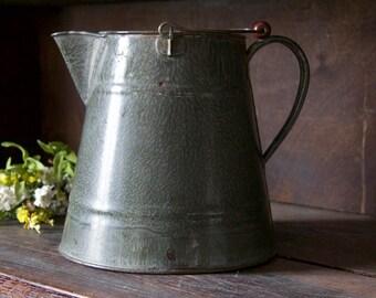 Vintage Gray Pitcher Flower Vase | Cottage Garden Decor