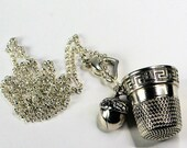 Antique Thimble and Acorn Hidden Kisses Necklace Peter Pan and Wendy Solid Sterling Silver