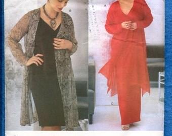 Vogue 2171 Designer Tom & Linda Platt Kerchief Hemline Jacket and Slender V Neck Dress Sizes 20W..22W..24W Uncut