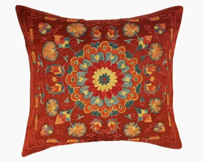 Handmade Suzani Silk Pillow Cover EMP702, Suzani Pillow, Uzbek Suzani, Suzani Throw, Suzani, Decorative pillows, Accent pillows