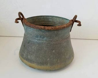 Primitive German Water Well Bucket Galvanized Metal Pail very RARE Fall Decor Planter