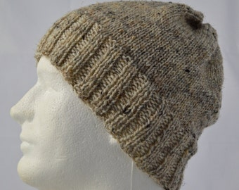 Mens Watch Cap, Knit Wool Beanie, Tan Womens Slouchy Hat, Hand Knit Winter Hat, Brown Tweed