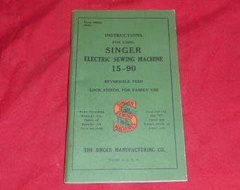 Singer Model 15 Sewing Machine Manual, 15-90, 1948