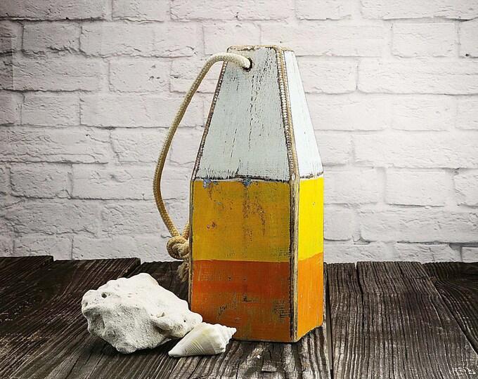 Beach Decor, White Yellow Orange, Lobster Buoy, Vintage,  Nautical, Wooden by SEASTYLE